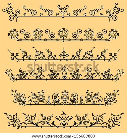 Several samples of a simple flower ornament in vector