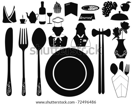 several set of restaurant objects for design - stock vector