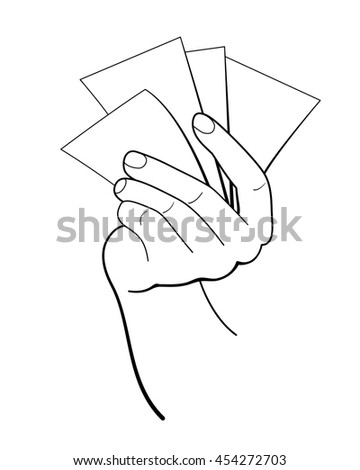 Several sheets in the hand. Vector illustration.