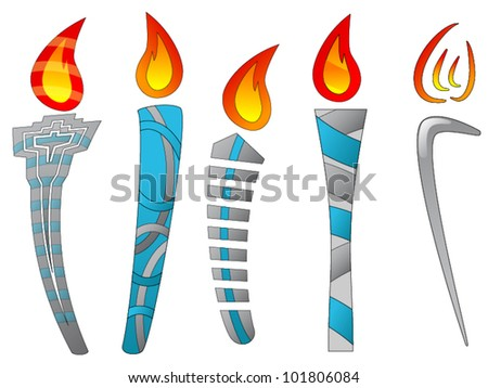 Several torch designs (Abstract) - stock vector