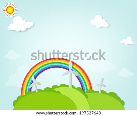 several wind turbines on the background of rainbow. flat paper i