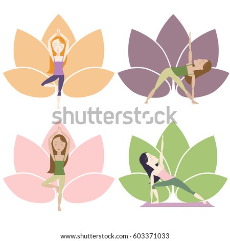 Several Yoga Poses Flowers Background Symbol Stock Vector 603371033