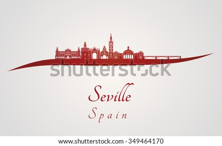 Seville skyline in red and gray background in editable vector file - stock vector
