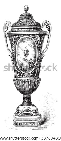 Sevres vase, vintage engraved illustration. Industrial encyclopedia E.-O. Lami - 1875. - stock vector