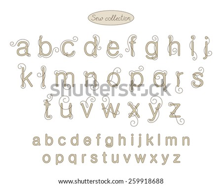 sew collection - embroidery letters - stock vector