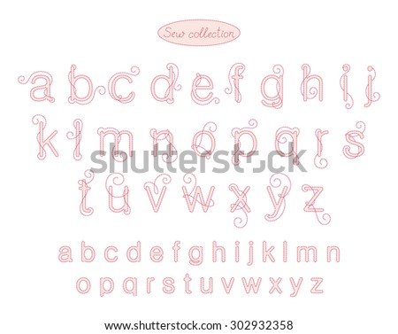 sew collection - pink color embroidery letters