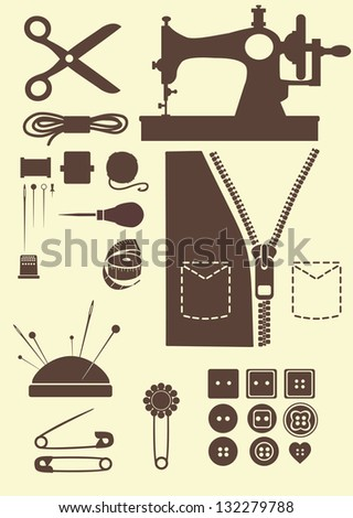 sewing accessories - stock vector