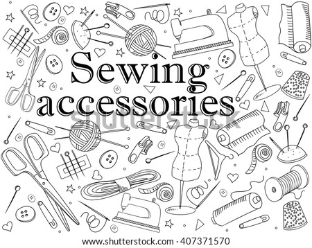 Sewing accessories coloring book line art design vector illustration. Implement separate objects. Hand drawn doodle design elements. - stock vector