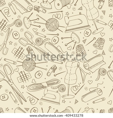 Sewing accessories seamless retro line art design vector illustration. Implement separate objects. Hand drawn doodle design elements. - stock vector