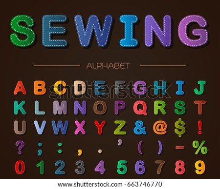 Sewing alphabet. Vector font.