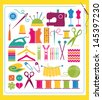 Sewing and Knitting Colorful Design Elements - stock photo