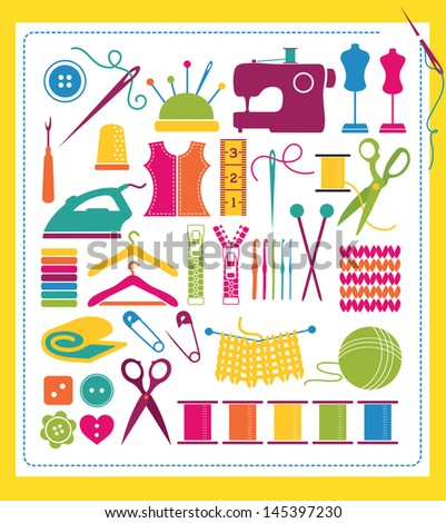 Sewing and Knitting Colorful Design Elements - stock vector