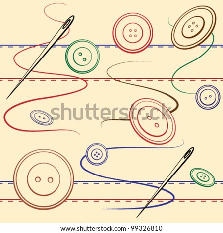 Sewing and needles seamless background - stock vector