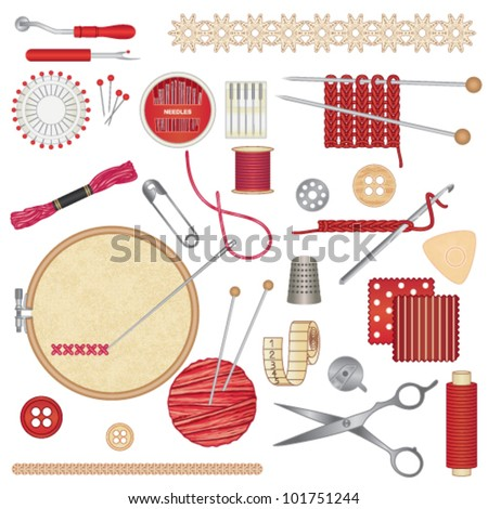 Sewing and needlework accessories 1 - stock vector