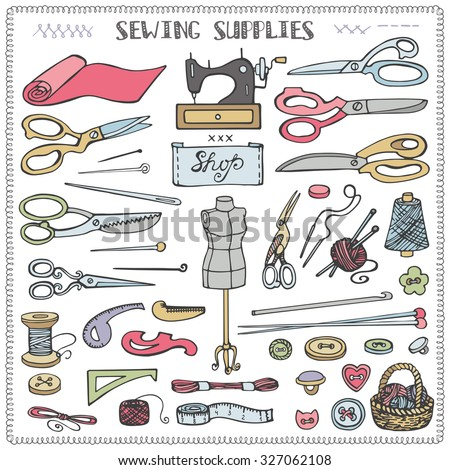 Sewing and needlework doodle icons set.Colored hand drawing sketch.Vintage isolated object.Vector hand made supplies,knitt equipment.Design template. - stock vector