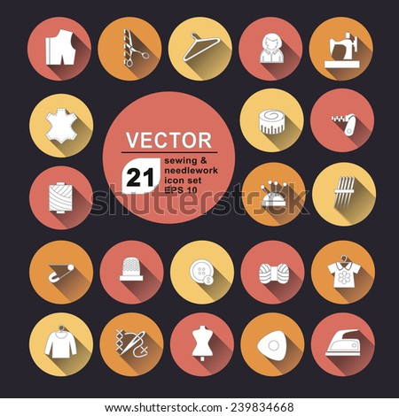 Sewing and needlework icons set vector collection for web color - stock vector