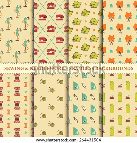 Sewing and needlework patterns - stock vector