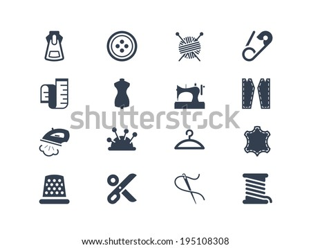 Sewing and tailor icons - stock vector