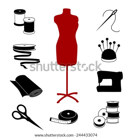 Sewing and Tailoring Icons. Fashion model with tools and supplies for do it yourself sewing, tailoring, dressmaking, needlework and crafts. EPS8 compatible. - stock vector