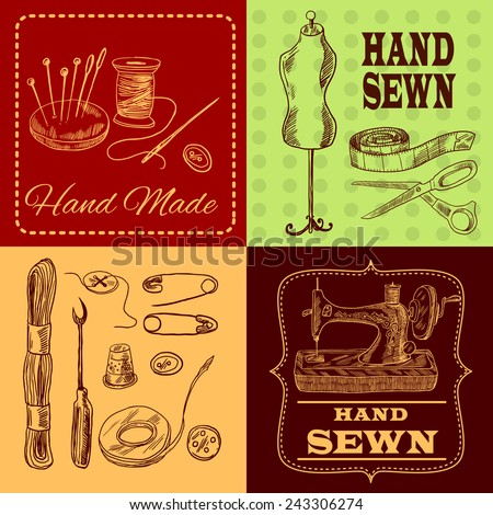 Sewing design concept with tailor equipment sketch icons set isolated vector illustration - stock vector