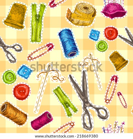 Sewing dressmaking and needlework accessories sketch seamless pattern vector illustration - stock vector
