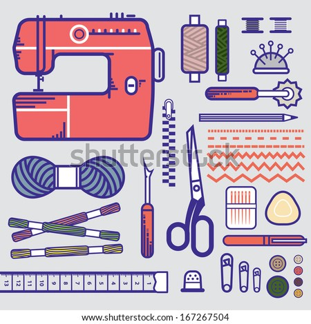 Sewing equipment  - stock vector