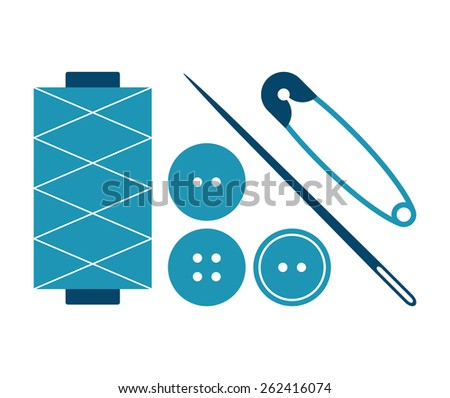 Sewing equipment and needlework set isolated on white background - stock vector