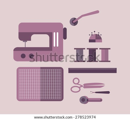 Sewing equipment and tailor needlework accessories. flat design elements. vector - stock vector