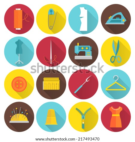 Sewing equipment and tailor needlework accessories icons with thread needle zipper isolated vector illustration - stock vector