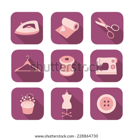 Sewing equipment  icon set - stock vector