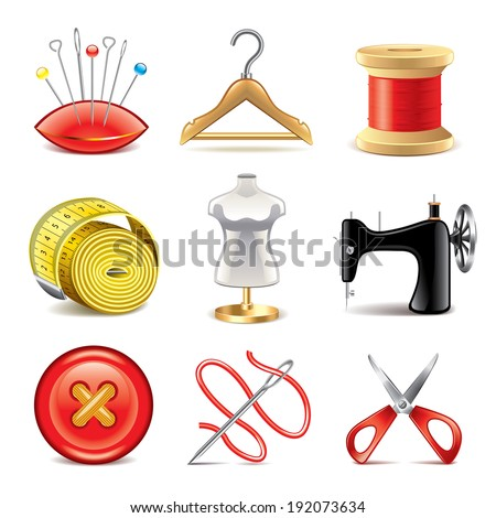 Sewing equipment icons detailed photo-realistic vector set - stock vector