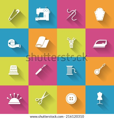 Sewing equipment icons set with thimble needle fabrics isolated vector illustration - stock vector