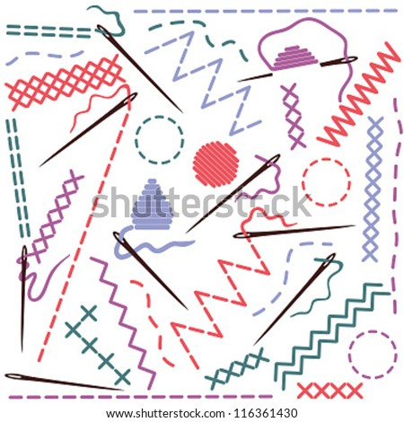 Sewing equipment - illustration of threads and needles - stock vector