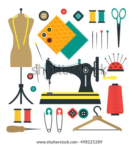 Sewing Equipment Kit Tools Set Craft Stock Vector ...