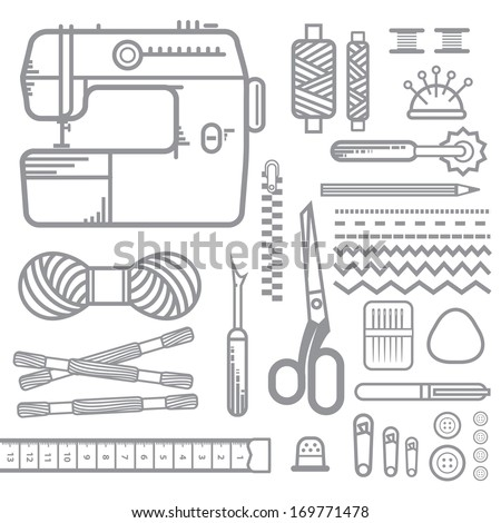 Sewing equipment, outline - stock vector