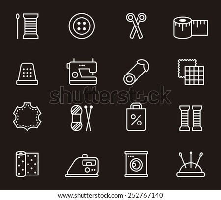 Sewing & Fashion icons - stock vector