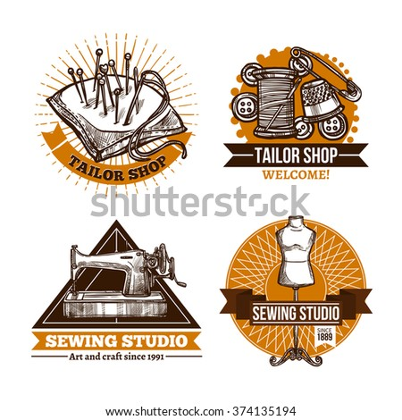 Sewing hand made label set in retro style with tailor accessories and ribbons isolated vector illustration  - stock vector
