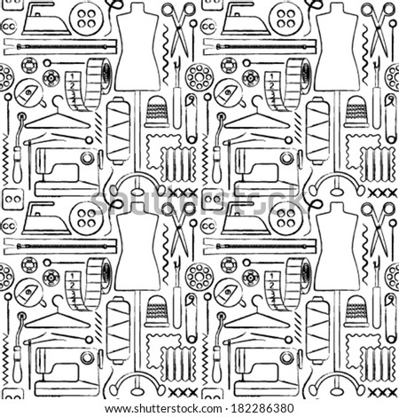 Sewing icons hand drawn seamless pattern background - stock vector