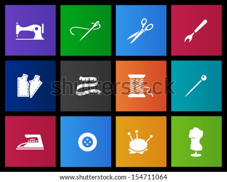 Sewing icons in Metro style - stock vector