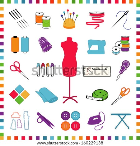 Sewing Icons, pastels, for tailoring, dressmaking, needlework, do it yourself crafts: model, needle, thread, ribbon, scissors, machine, pins, iron, cloth, label, thimble, buttons, check frame. EPS8. - stock vector