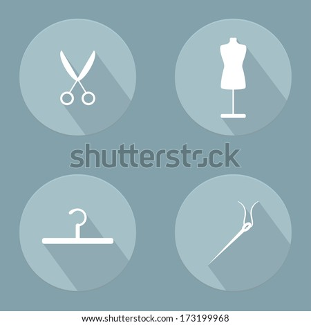 Sewing Icons set. Flat design. Vector illustration - stock vector