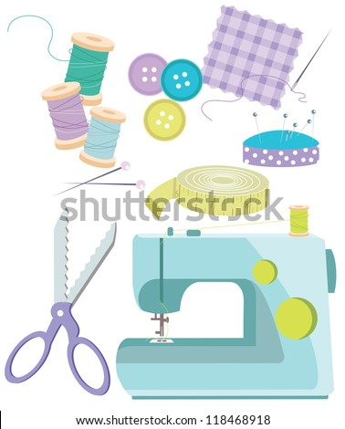 Sewing Items Various haberdashery items, including sewing machine,thread,needles,scissors,tape measure,buttons, fabric, pins - stock vector