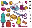 Sewing Kit Doodles - hand drawn design elements in vector - stock vector