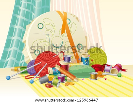 sewing kit, sewing accessories, still life