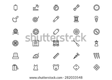 Sewing Line Vector Icons 3 - stock vector