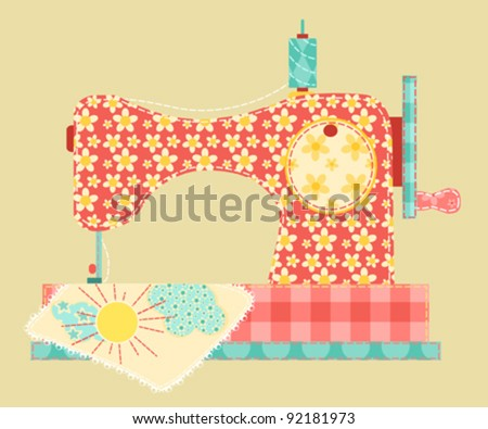 Sewing machine. Patchwork vintage series. Vector illustration. - stock vector