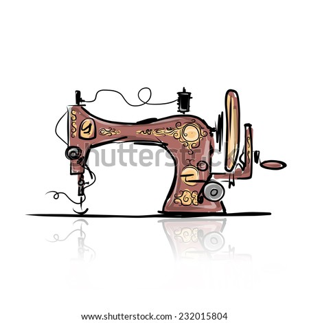 Sewing machine retro sketch for your design - stock vector