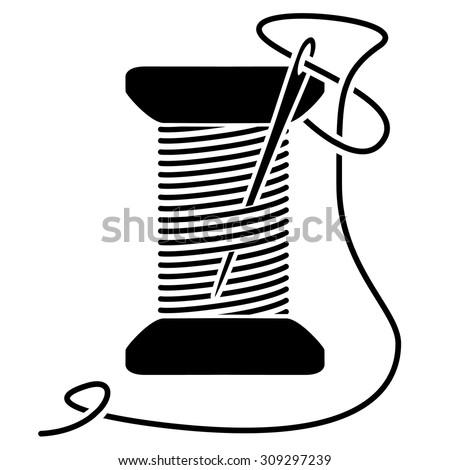 sewing needle thread spool silhouette stock vector 309297239 shutterstock. Black Bedroom Furniture Sets. Home Design Ideas
