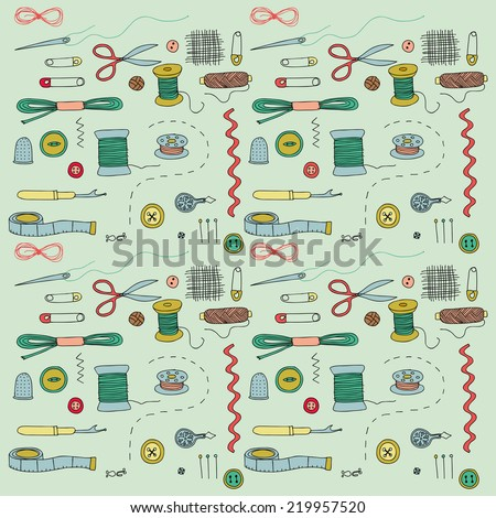 Sewing notions, hand drawn vector icons - stock vector