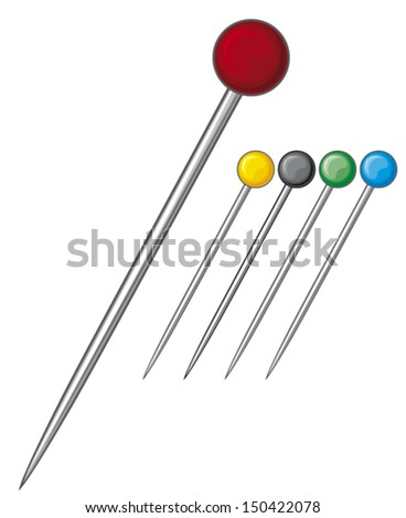 sewing pins collection  - stock vector